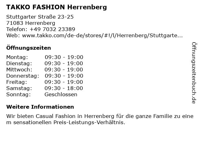 Takko Fashion in Herrenberg: Adresse und Öffnungszeiten
