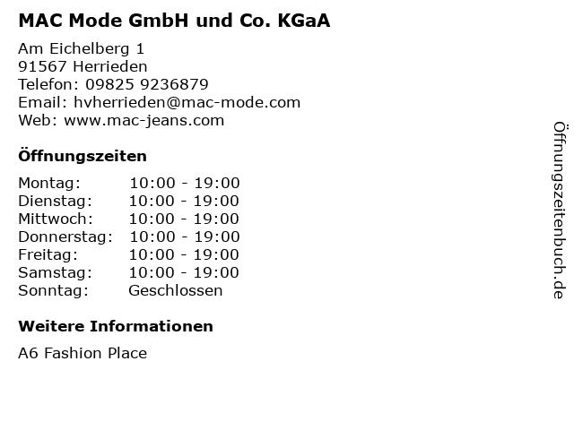 MAC Mode GmbH und Co. KGaA in Herrieden: Adresse und Öffnungszeiten