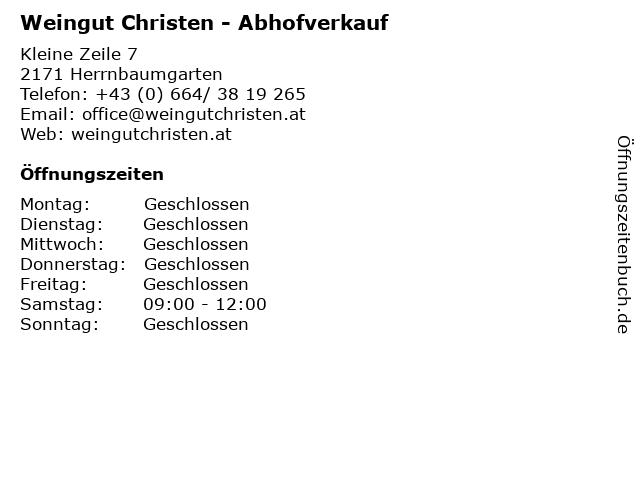 Weingut Christen - Abhofverkauf in Herrnbaumgarten: Adresse und Öffnungszeiten