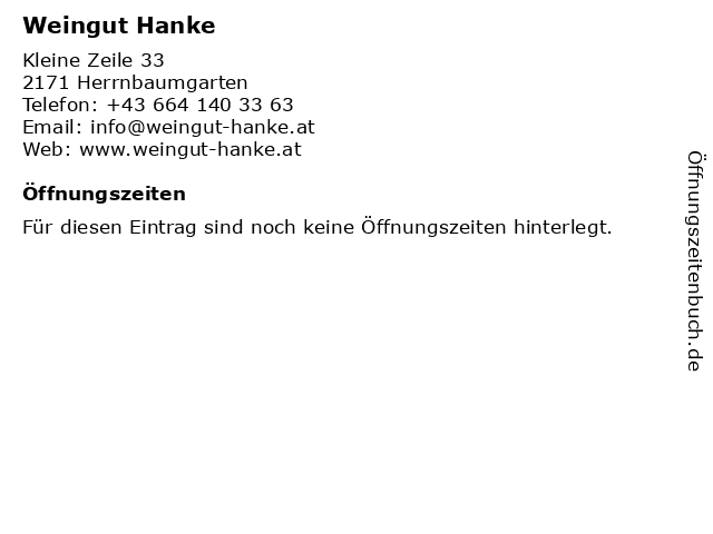 Weingut Hanke in Herrnbaumgarten: Adresse und Öffnungszeiten