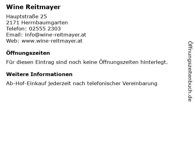 Wine Reitmayer in Herrnbaumgarten: Adresse und Öffnungszeiten
