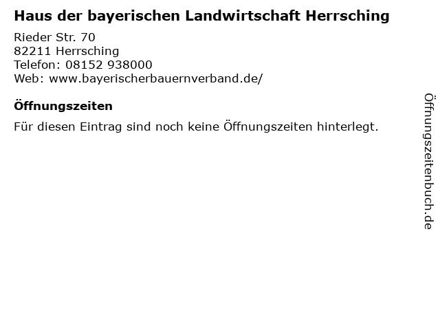 ᐅ Offnungszeiten Haus Der Bayerischen Landwirtschaft Herrsching