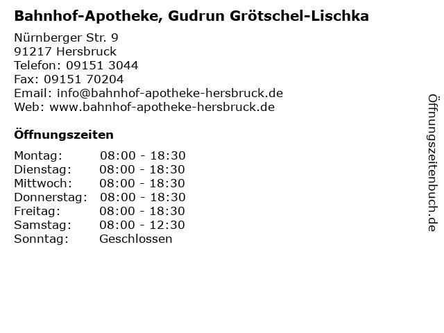 Bahnhof-Apotheke, Gudrun Grötschel-Lischka in Hersbruck: Adresse und Öffnungszeiten
