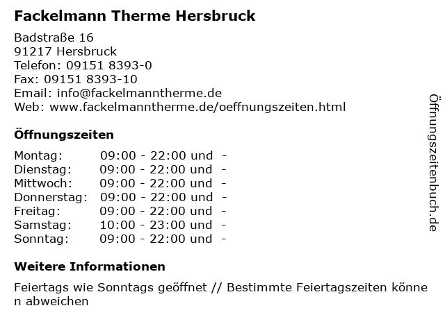 Fackelmann Therme Hersbruck in Hersbruck: Adresse und Öffnungszeiten