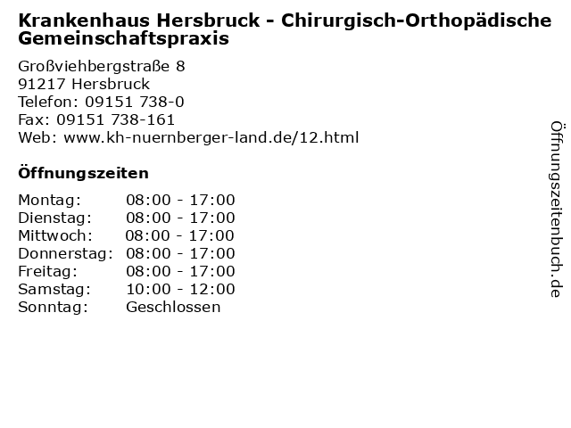Krankenhaus Hersbruck - Chirurgisch-Orthopädische Gemeinschaftspraxis in Hersbruck: Adresse und Öffnungszeiten
