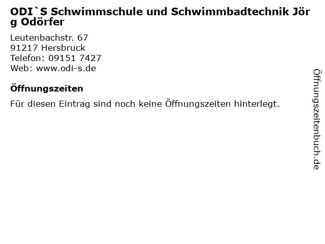 ODI`S Schwimmschule und Schwimmbadtechnik Jörg Odörfer in Hersbruck: Adresse und Öffnungszeiten