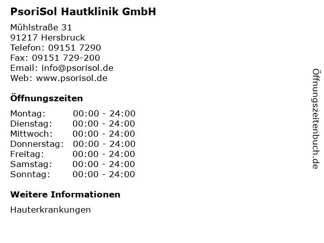 PsoriSol Hautklinik GmbH in Hersbruck: Adresse und Öffnungszeiten