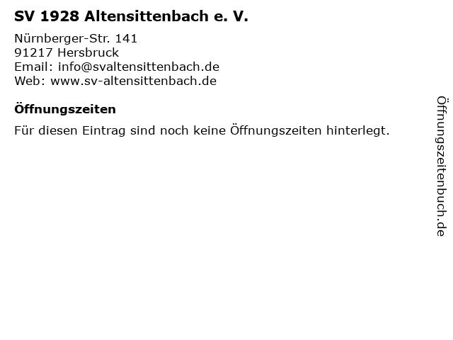 SV 1928 Altensittenbach e. V. in Hersbruck: Adresse und Öffnungszeiten