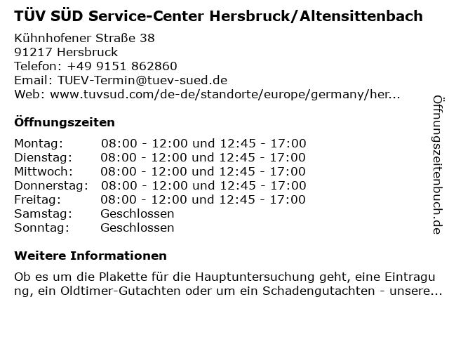 TÜV SÜD Service-Center Hersbruck/Altensittenbach in Hersbruck: Adresse und Öffnungszeiten