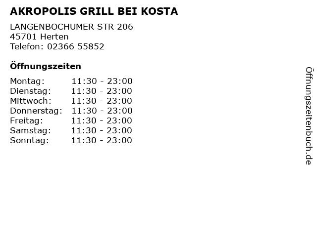 AKROPOLIS GRILL BEI KOSTA in Herten: Adresse und Öffnungszeiten