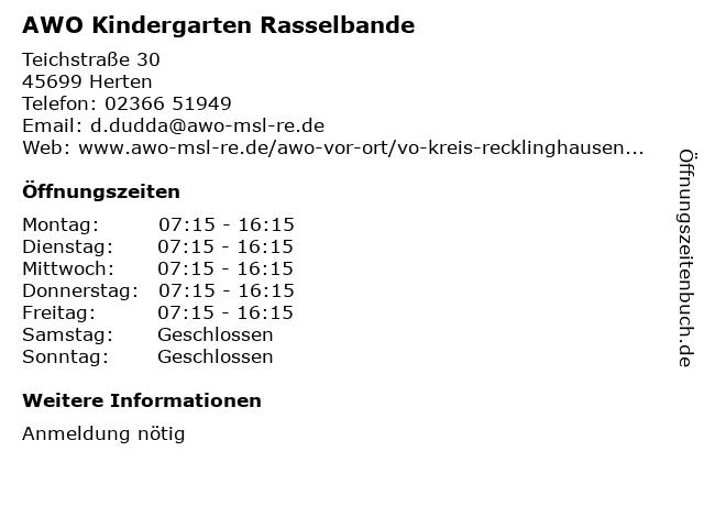 AWO Kindergarten Rasselbande in Herten: Adresse und Öffnungszeiten