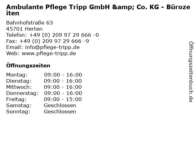 Ambulante Pflege Tripp GmbH & Co. KG - Bürozeiten in Herten: Adresse und Öffnungszeiten