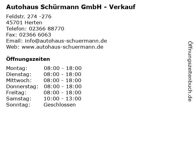 Autohaus Schürmann GmbH - Verkauf in Herten: Adresse und Öffnungszeiten