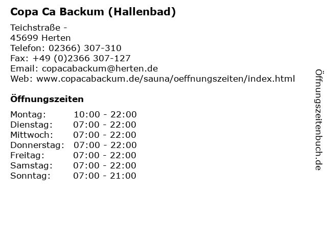 Copa Ca Backum (Hallenbad) in Herten: Adresse und Öffnungszeiten