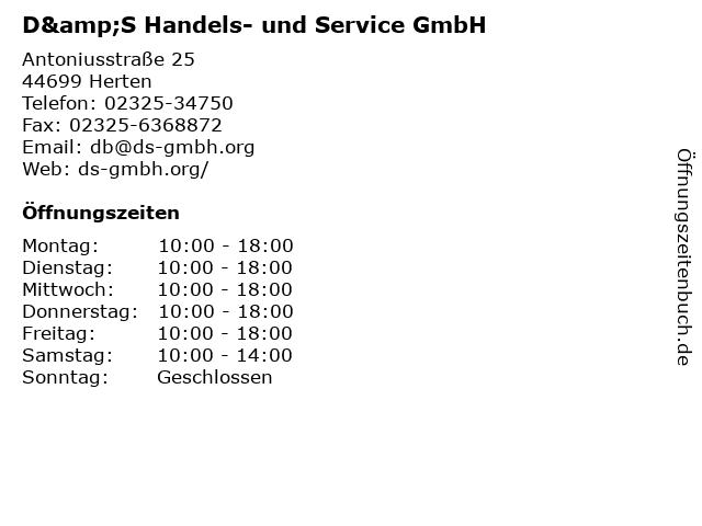 D&S Handels- und Service GmbH in Herten: Adresse und Öffnungszeiten