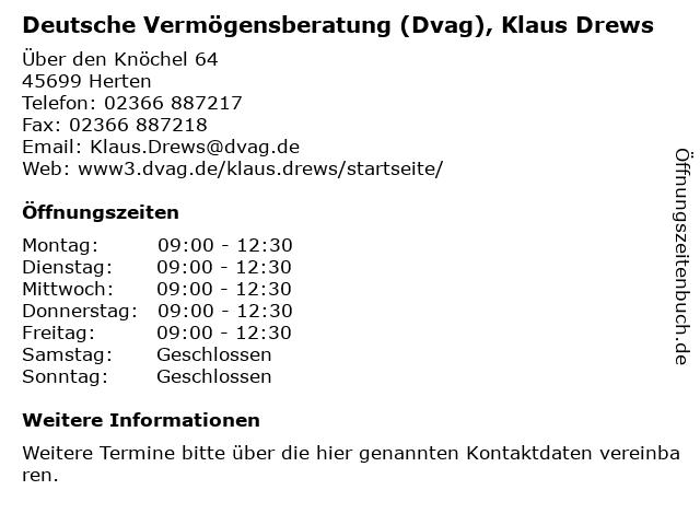 Deutsche Vermögensberatung (Dvag), Klaus Drews in Herten: Adresse und Öffnungszeiten