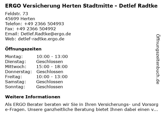 ERGO Versicherung Detlef Radtke in Herten: Adresse und Öffnungszeiten