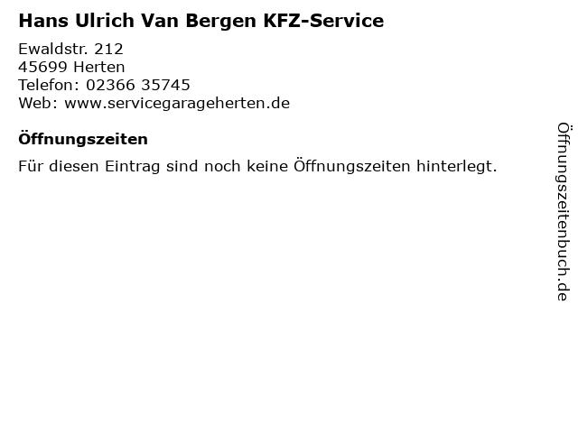 Hans Ulrich Van Bergen KFZ-Service in Herten: Adresse und Öffnungszeiten