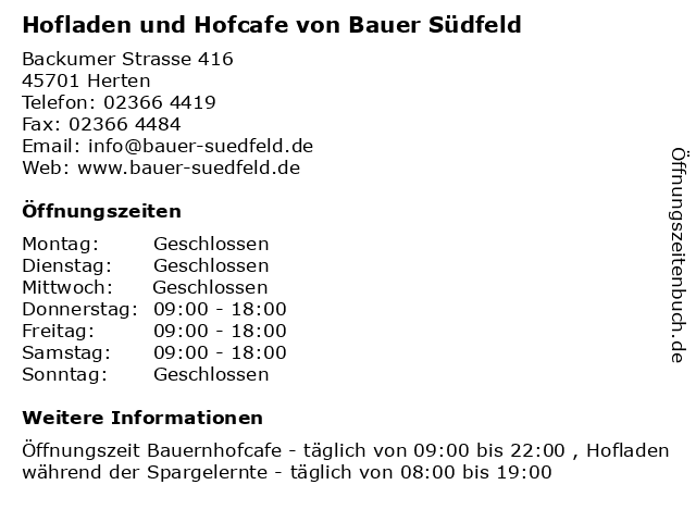 Hofladen und Hofcafe von Bauer Südfeld in Herten: Adresse und Öffnungszeiten