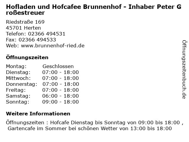 Hofladen und Hofcafee Brunnenhof - Inhaber Peter Großestreuer in Herten: Adresse und Öffnungszeiten