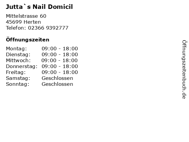 Jutta`s Nail Domicil in Herten: Adresse und Öffnungszeiten