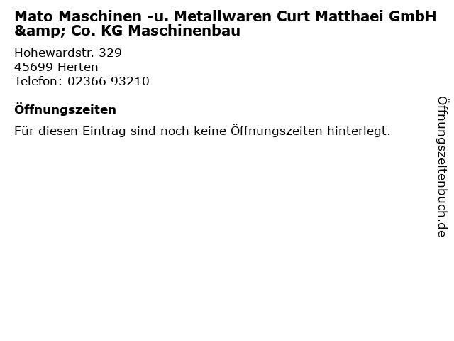 Mato Maschinen -u. Metallwaren Curt Matthaei GmbH & Co. KG Maschinenbau in Herten: Adresse und Öffnungszeiten