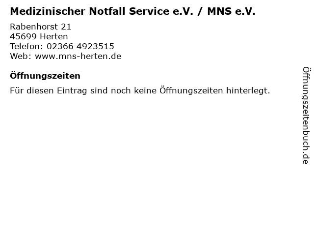 Medizinischer Notfall Service e.V. / MNS e.V. in Herten: Adresse und Öffnungszeiten