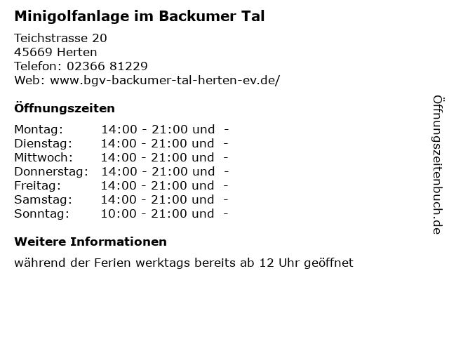 Minigolfanlage im Backumer Tal in Herten: Adresse und Öffnungszeiten