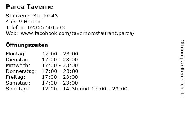 Parea Taverne in Herten: Adresse und Öffnungszeiten