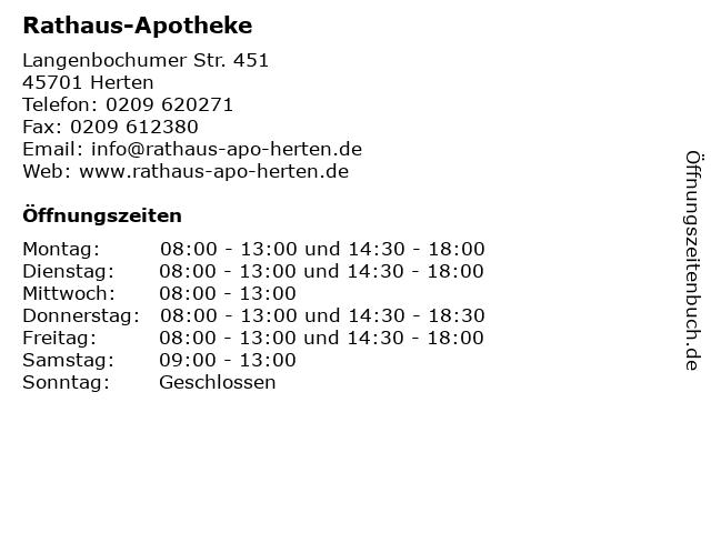 Rathaus-Apotheke in Herten: Adresse und Öffnungszeiten