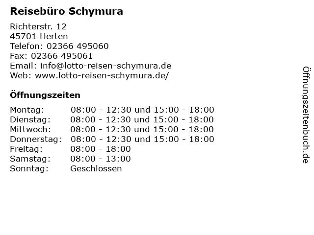 Reisebüro Schymura in Herten: Adresse und Öffnungszeiten