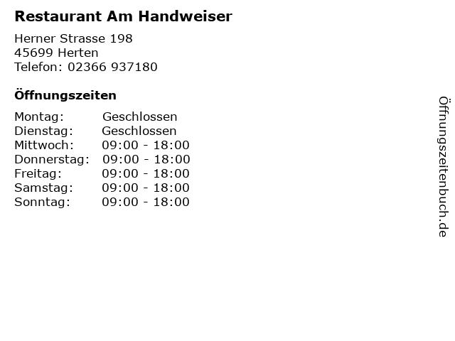 Restaurant Am Handweiser in Herten: Adresse und Öffnungszeiten