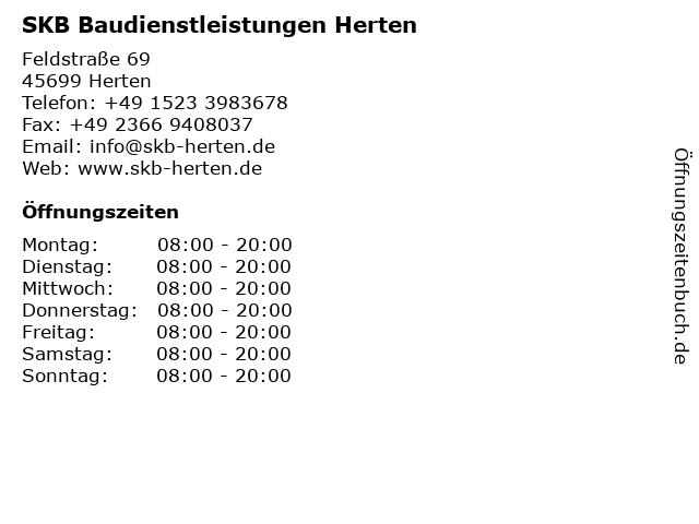 SKB Baudienstleistungen Herten in Herten: Adresse und Öffnungszeiten