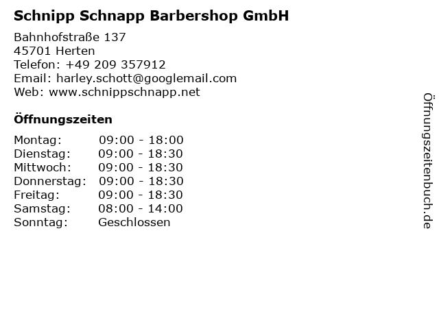 Schnipp Schnapp Barbershop GmbH in Herten: Adresse und Öffnungszeiten