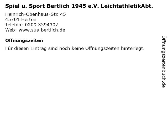 Spiel u. Sport Bertlich 1945 e.V. LeichtathletikAbt. in Herten: Adresse und Öffnungszeiten