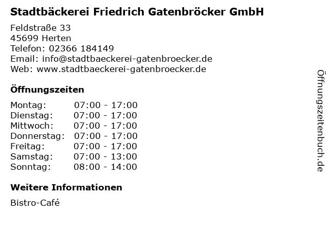 Stadtbäckerei Friedrich Gatenbröcker GmbH in Herten: Adresse und Öffnungszeiten