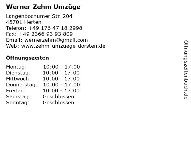 Umzugskönig Inh. Werner Zehm in Herten: Adresse und Öffnungszeiten