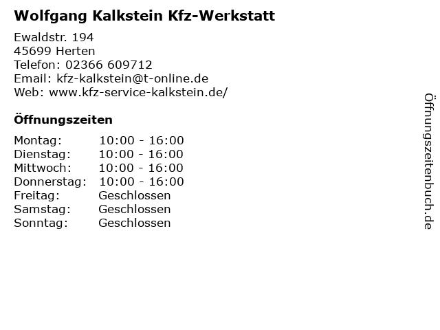 Wolfgang Kalkstein Automobile in Herten: Adresse und Öffnungszeiten