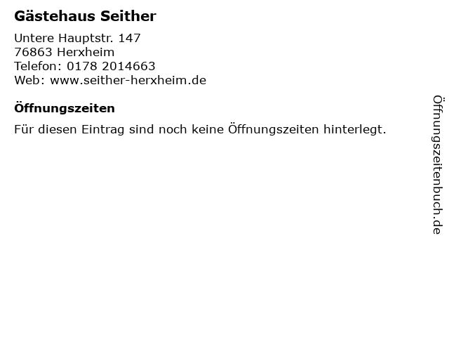 Gästehaus Seither in Herxheim: Adresse und Öffnungszeiten