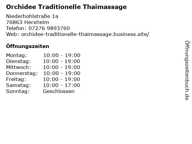 Orchidee Traditionelle Thaimassage in Herxheim: Adresse und Öffnungszeiten
