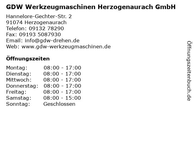 GDW Werkzeugmaschinen Herzogenaurach GmbH in Herzogenaurach: Adresse und Öffnungszeiten