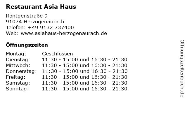 Restaurant Asia Haus in Herzogenaurach: Adresse und Öffnungszeiten