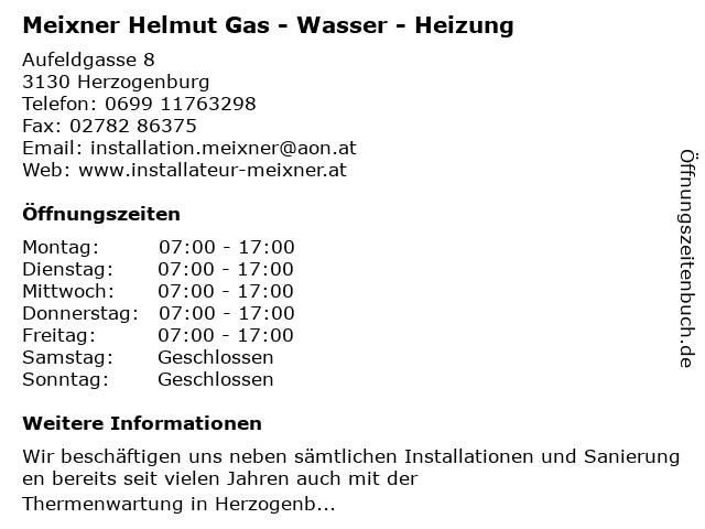 Meixner Helmut Gas - Wasser - Heizung in Herzogenburg: Adresse und Öffnungszeiten