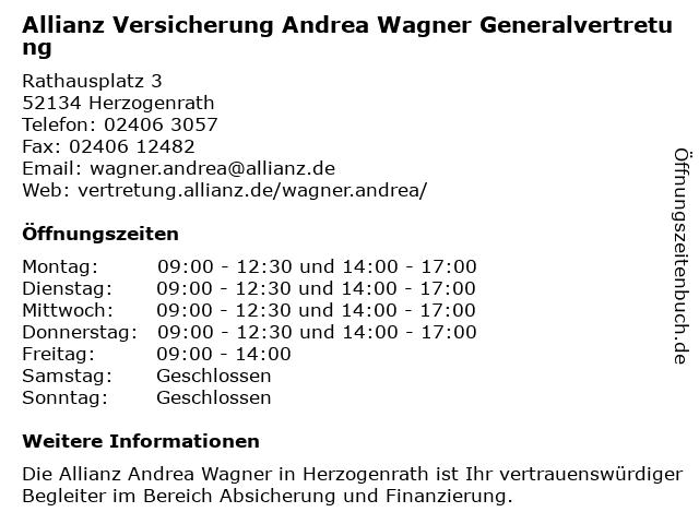 Allianz Vertretung Andrea Wagner in Herzogenrath: Adresse und Öffnungszeiten