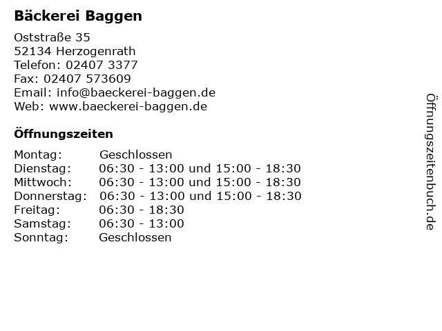 Bäckerei Baggen in Herzogenrath: Adresse und Öffnungszeiten
