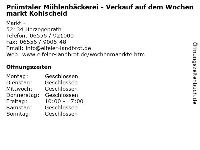 Prümtaler Mühlenbäckerei - Verkauf auf dem Wochenmarkt Kohlscheid in Herzogenrath: Adresse und Öffnungszeiten