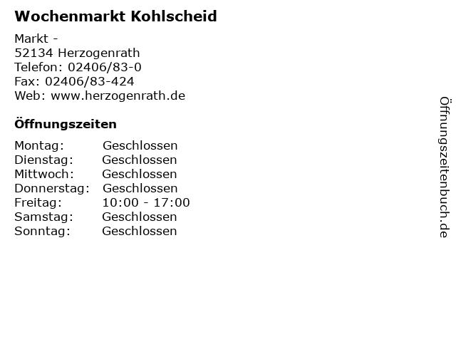 Wochenmarkt Kohlscheid in Herzogenrath: Adresse und Öffnungszeiten