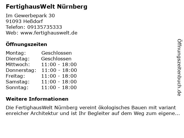ᐅ öffnungszeiten Fertighauswelt Nürnberg Im Gewerbepark 30 In