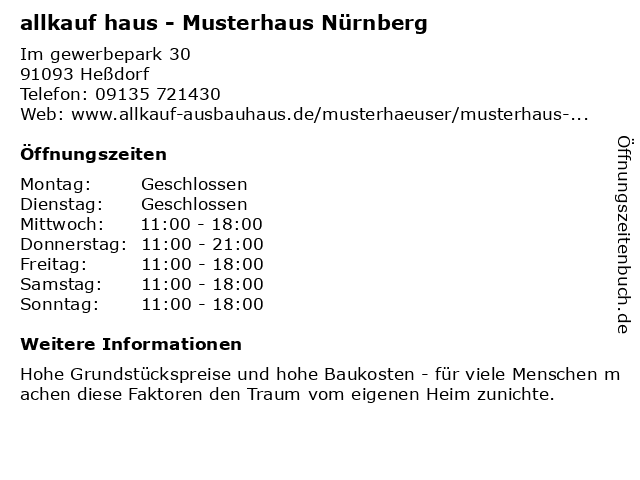 ᐅ öffnungszeiten Allkauf Haus Musterhaus Im Gewerbepark 30 In