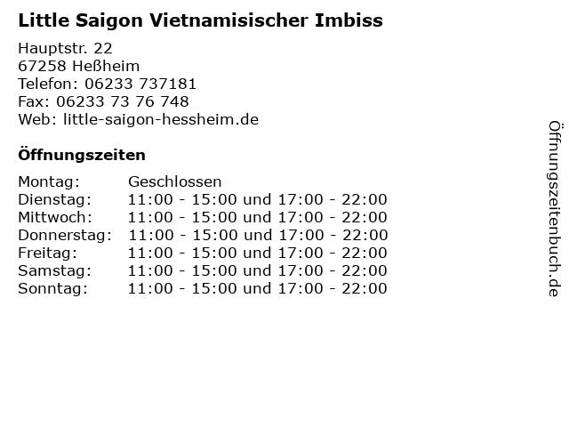 Little Saigon Vietnamisischer Imbiss in Heßheim: Adresse und Öffnungszeiten